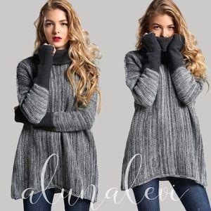 Sweaters - JENNIE Cowl Neck Knit Sweater - CHARCOAL
